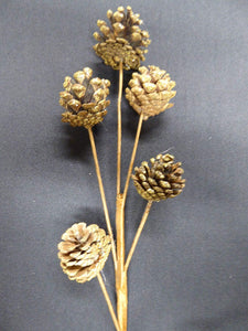 55cm GOLD Glitter Artificial Pine Cone Stem Christmas Decoration