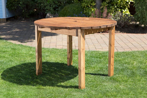 UK-Gardens  Handmade Fully Assembled Heavy Duty Wooden Garden Round Table - 120cm 4 Seater Garden Table
