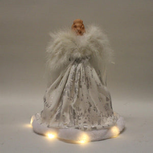 UK-Gardens 30cm Silver White Fiary Angel Tree Topper with LED BO Lights