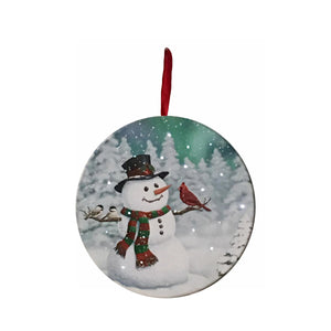 UK Gardens 15cm Bo Snowman and Bird Canvas Lit Round Christmas Wall Decoration