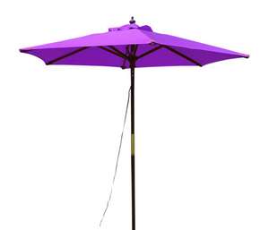 Large Hardwood 2.m Pulley Garden Parasol - Purple