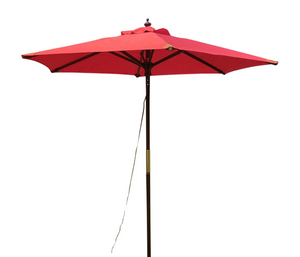 Large Hardwood 2.m Pulley Garden Parasol - Red