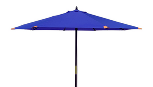 Large Hardwood 3m Pulley Garden Parasol - Navy Blue