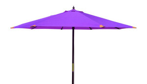Large Hardwood 3m Pulley Garden Parasol - Purple