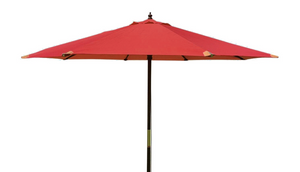 Large Hardwood 3m Pulley Garden Parasol - Red
