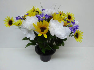 Artificial Plants -Large 40cm Sunflower Grave Side Flowers in Memorial Pot
