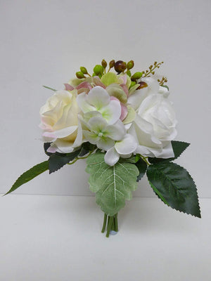 Artificial White Rose and Hydrangea Bouquet Spray Arrangement
