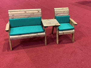 2 Seat Bench and Armchair Set with Straight Tray Green Cushions and Cover | UK-Gardens.co.uk