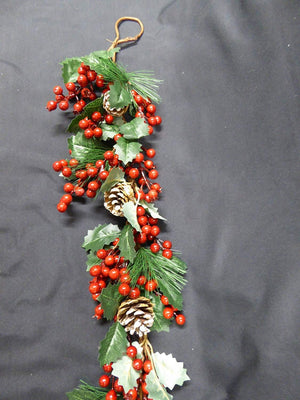 1m 3ft Artificial Holly Berry Cone Hanging Artificial Garland Christmas Decoration