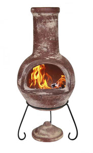 UK-Gardens 110cm Large Patio Outdoor Mexican Clay Chimenea Red