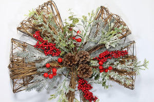 Authentic Twig Christmas Bow Decoration Wreath Artificial Berry