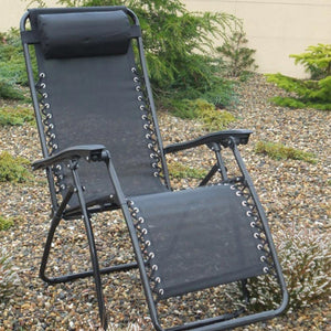 Black Garden Recliner Chair Zero Gravity
