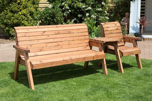 3 Seat Bench and Armchair Set with Straight Tray Green Cushions | UK-Gardens.co.uk
