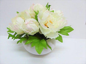 Large Artificial White Potted Peonies - 26cm Tall With Silk Flowers In a Ceramic Round White Planter Pot
