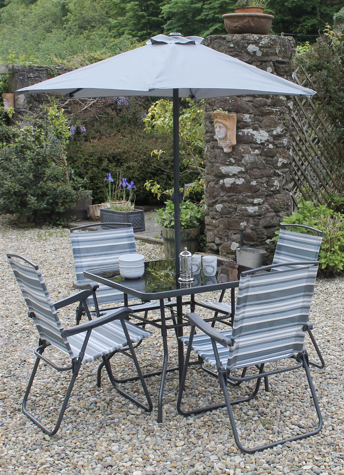 BLUE AND GREY Stripe Garden Dining Set