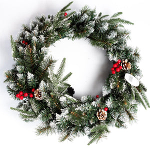 UK Gardens 60cm Bo Lit Christmas Garland Decoration Wreath Cones 60 Lights