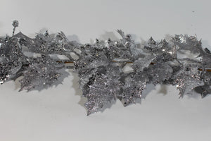 Silver 1.8m Glitter Holly Berry Christmas Artificial Garland Decoration