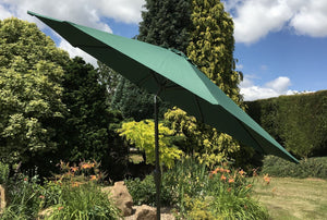 Large 3m Green Crank And Tilt Garden Parasol Umbrella 300cm  Metal Pole