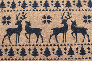 UK-Gardens BROWN 40x60cm Reindeer Christmas Outdoor Door Mat