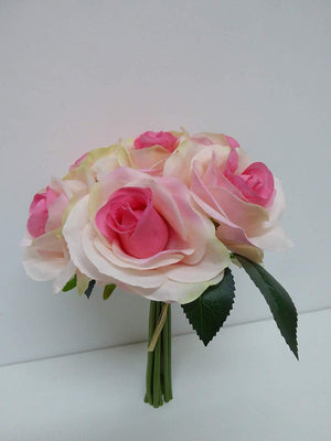 Artificial Flowers - Artificial 30cm Rose Bouquet Spray Arrangement - House Office or Indoor Decoration (PINK)