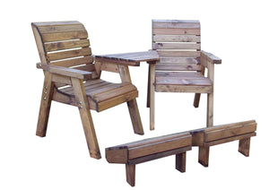 UK-Gardens Deluxe Lounger Set with Detachable Angled Tray and Footstool