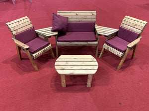 Set of 2 Armchairs with Angled Trays, Coffee Table, 2 Seater Bench with Burgundy Cushions | UK-Gardens.co.uk