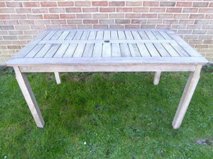 UK-Gardens Antique Grey 6 Seater Wooden Garden Dining Table With Parasol Hole 140 x 80 x 74