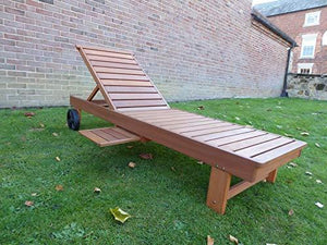 UK-Gardens Wooden Wheeled Sun Lounger with Slide out Table and Cushion (Black)