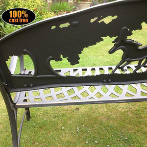 UK Gardens 127cm Black Cast Iron Outdoor Bench with Horses and Tree Design