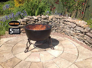 UK Gardens 60.5cm Extra Large Traditional Design Cast Iron Fire Bowl