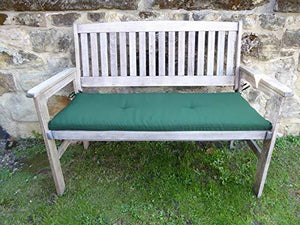 UK-Gardens Heavy Duty Antique Grey Wooden 2 Seater Garden Bench with GREEN Bench Cushion