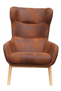 UK Gardens 68cm Brown Leatherette Traditional Lounge Armchair