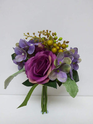 Artificial Flowers - Artificial Rose and Hydrangea Bouquet Spray Arrangement - House Office or Indoor Decoration (PURPLE)