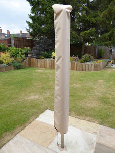 UK-Gardens Beige Waterproof Parasol Cover And Rotary Washing Line Cover for 3 meter or 2.7 Meter Parasols - Water Proof Garden Furniture Cover