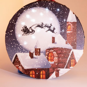 UK Gardens 15cm Bo Santa Sleigh Canvas Lit Round Christmas Wall Decoration