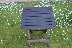 UK-Gardens Dark Grey Resin Plastic Garden Table Lightweight Folding Outdoor Camping Side Table