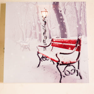 UK Gardens 40cm LED Light Snow Bench Canvas Picture Christmas Wall Decoration