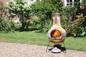 UK-Gardens 125cm Extra Large Outdoor Mexican Clay Chimenea Firepit Yellow