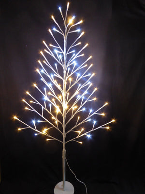120cm 4ft Flat White Twig Tree With LED Lights - Indoor Home Christmas Decoration