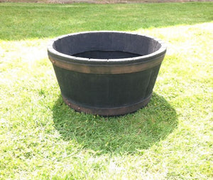 Round Oak Barrel Planter