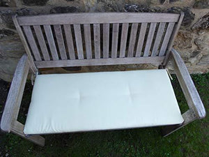 Heavy Duty Antique Grey Wooden 2 Seater Garden Bench with CREAM Bench Cushion