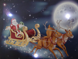 Christmas Decorations - 40 x 30 Santa Sleigh Canvas Print