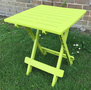 UK-Gardens Lime Green Resin Plastic Garden Table Lightweight Folding Outdoor Camping Side Table