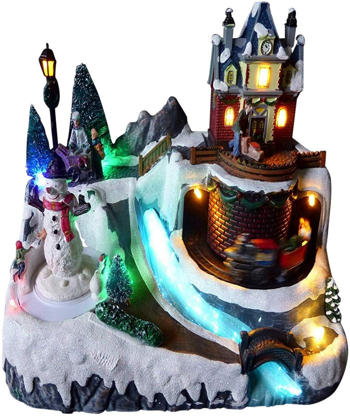 UK-Gardens Colour Changing Light Up LED Snowman And House Musical Moving Christmas Village Scene Animation Christmas Decoration