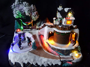 UK-Gardens Colour Changing Light Up LED Cottage Musical Moving Christmas Village Scene Animation Christmas Decoration