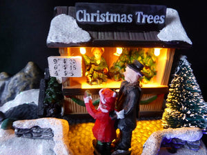UK-Gardens Colour Changing Light Up LED Christmas Tree Stall Musical Moving Christmas Village Scene Animation Christmas Decoration