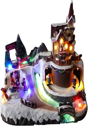 UK-Gardens Colour Changing Light Up LED Santa And Church Musical Moving Christmas Village Scene Animation Christmas Decoration