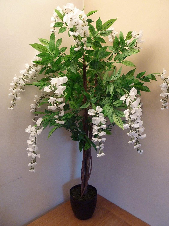 UK-Gardens Large Artificial Tree 4' Wisteria Potted Plant with Cream Flowers in a Heavy Duty Resin Pot - House Plant or Office Plant or Indoor Plant