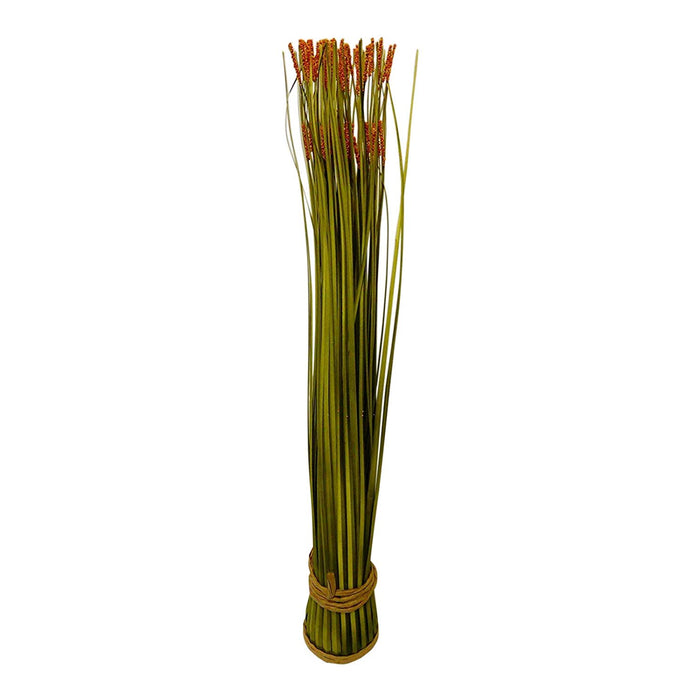 Artificial Plants - Large 63cm Orange Seeded Artificial Grass Plant Arrangement In A Rope Pot - House Office or Indoor Decoration