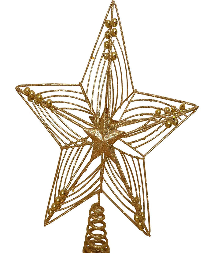 30cm Large Gold Star Glitter And Beads Christmas Tree Topper To Use On Top Of Your Artificial or Real Christmas Tree Wire And Metal Frame